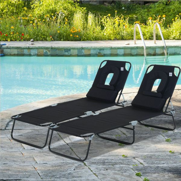 Foldable Reclining Sun Lounger Bed With Headrest - 2PC