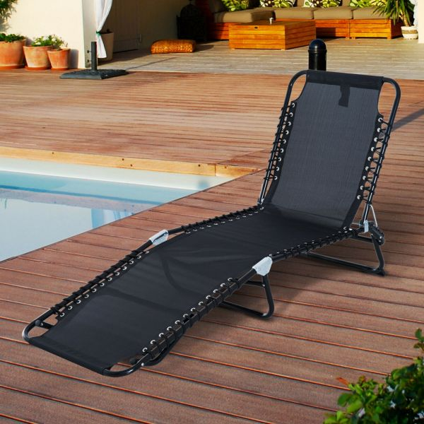 Foldable Reclining Sun Lounger Bed - Black