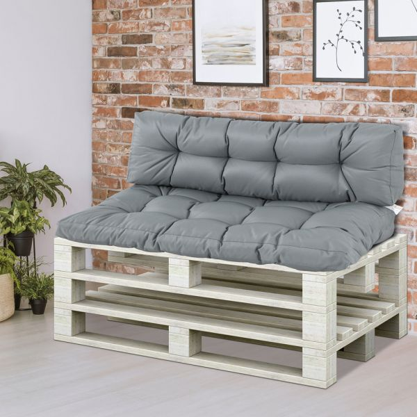 2Pcs Tufted Pallet Cushions Seat - Grey