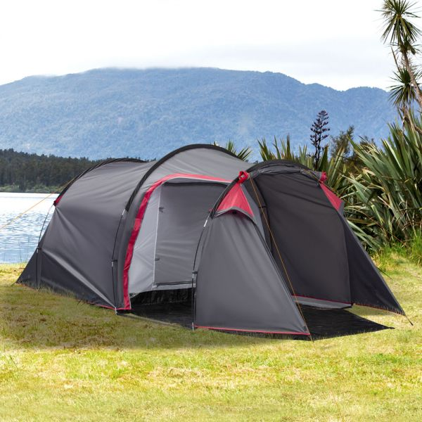 Weather-Resistant Four Person Camping Tent - Dark Grey