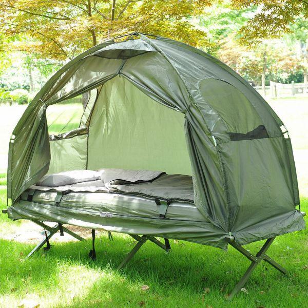 One Person Foldable Dome Day Bed With Sleeping Bag - Green