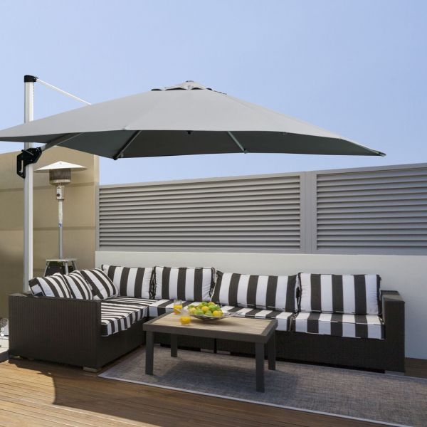 Roma Cantilever Parasol 360° Rotating Base - Light Grey