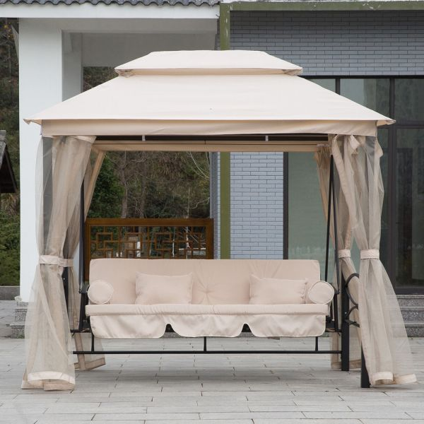 2 in 1 Convertible 3 Seater Swing With Insect Net - Cream