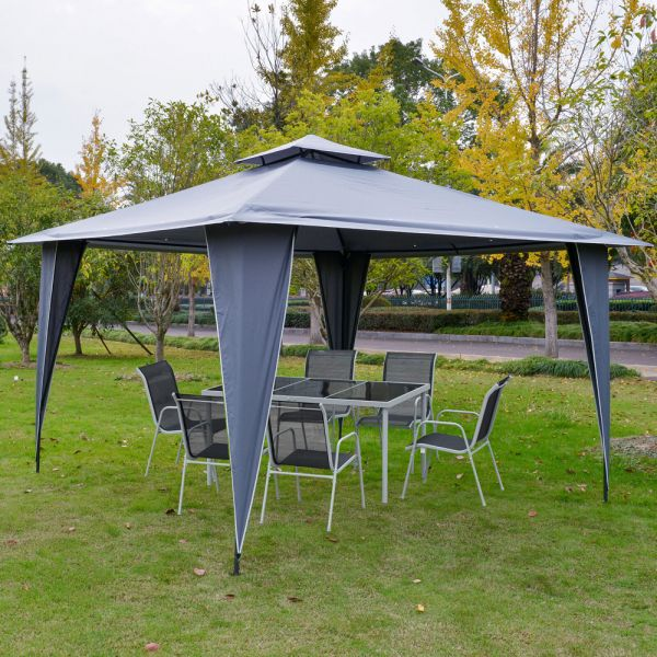 2-Tier Roof Steel Frame Gazebo 3.5/3.5m - Grey