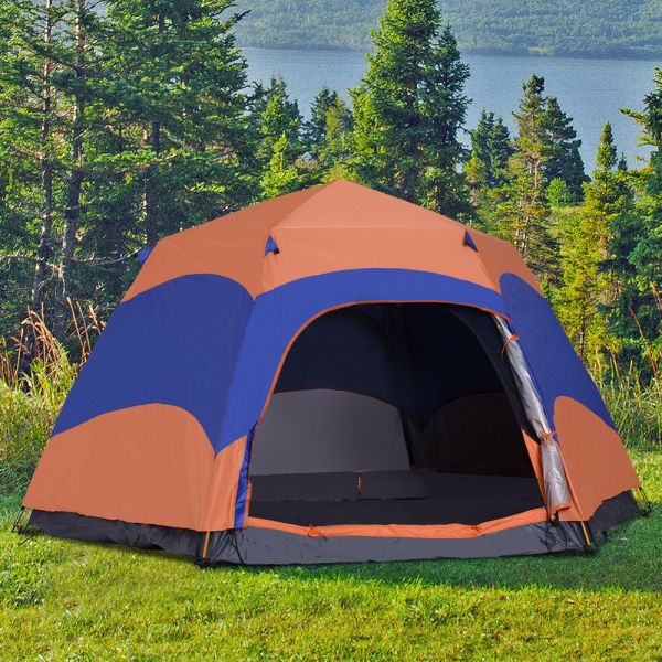 Foldable 6 Person Pop Up Camping Tent - Blue/Orange