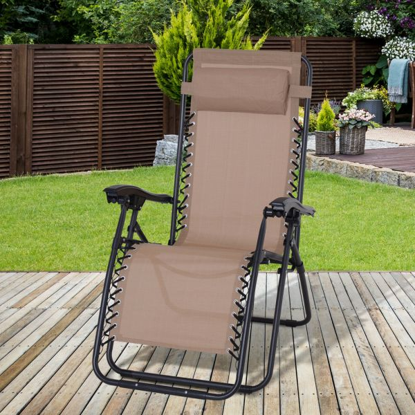 Zero Gravity Foldable Reclining Sun Lounger - Brown