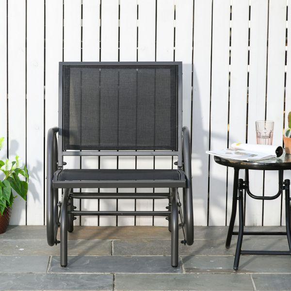 Steel Gliding Garden Chair - Dark Grey