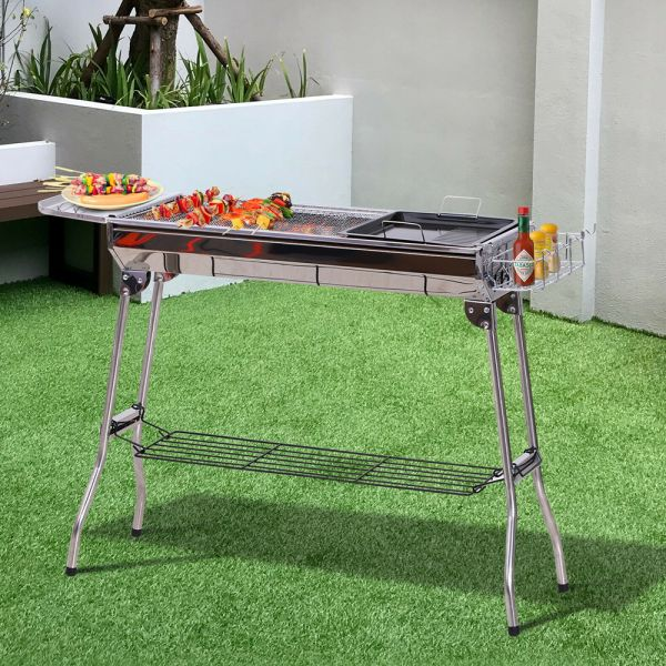 Stainless Steel Portable Charcoal Barbeque Grill - Silver