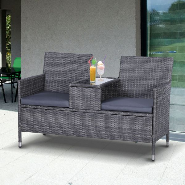 2 Seater PE Rattan Companion With Glass Table Top - Grey