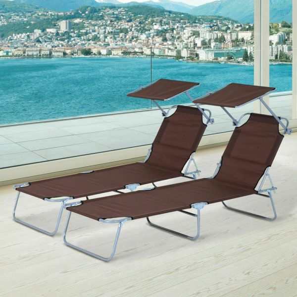Foldable Reclining Sun Lounger With Sun Visor 2PC - Brown