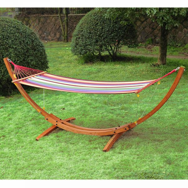 Wooden Frame Hammock Arc Stand Swing Bed - Wooden