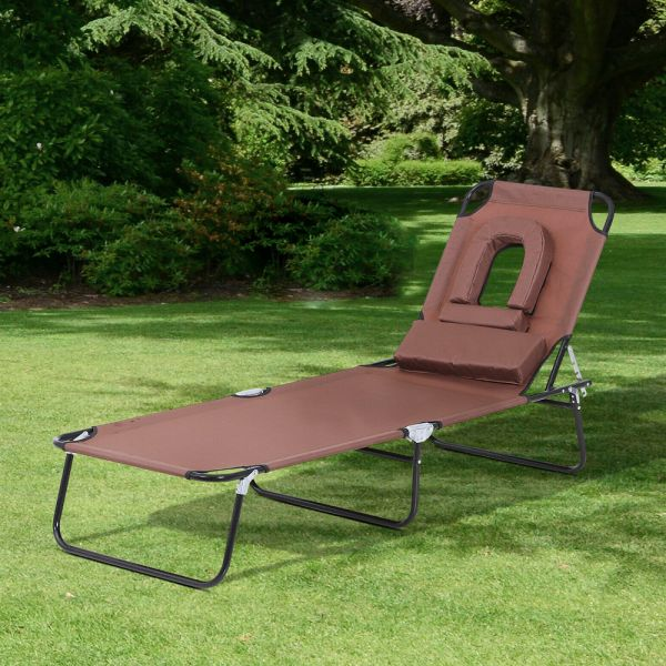 Foldable Sun Lounger With Pillow Reading Hole - Brown