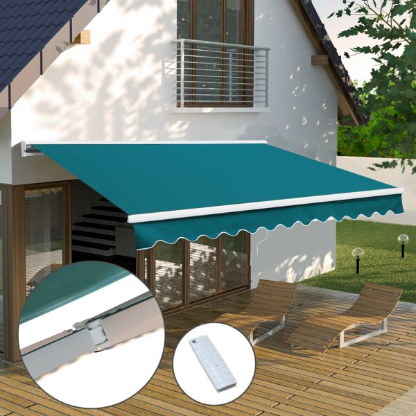 Retractable Motorised Awning Green Colour With LED - 2.5/2m