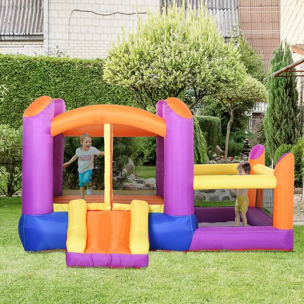 Inflatable Kids Bounce Castle With Inflator - Multi-color
