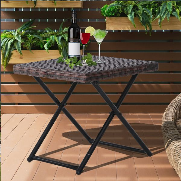 Foldable Rattan Square Garden Table - Brown