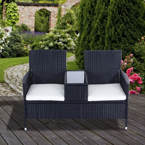 Rattan Companion Garden Seat With Table Top - Black