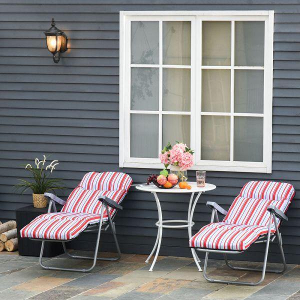 Adjustable Recliner Garden Seat Set of 2 - Red/White