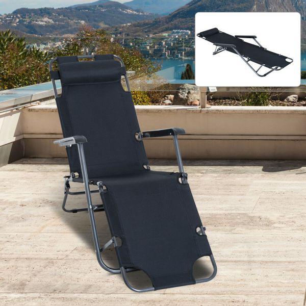 Foldable Reclining Garden Chair - Black
