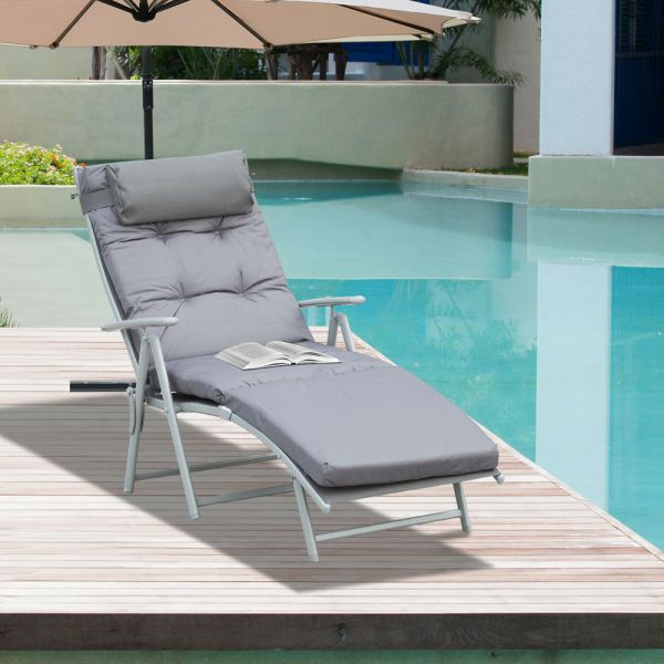 Foldable Padded Chaise Sun Lounger With Headrest - Light Grey