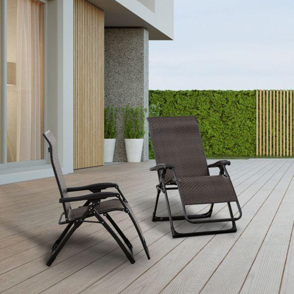 Foldable Rattan Recliner Zero Gravity Garden Chair Set of 2 - Brown