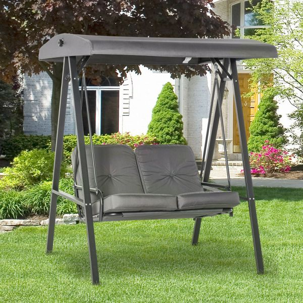 2 Seater Steel Frame Garden Swing With Cushion - Grey