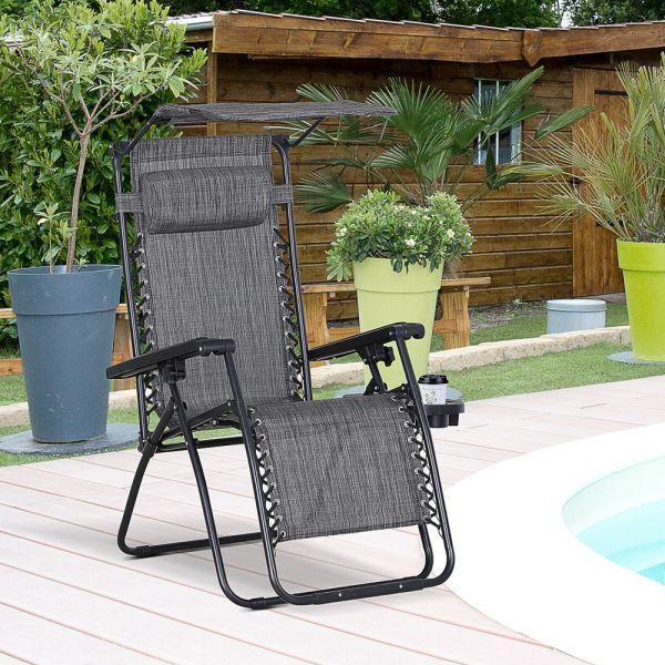Foldable Garden Chair With Canopy - Dark Grey