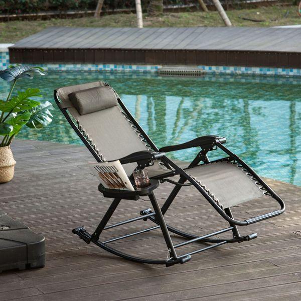 Foldable Recliner Garden Rocking Chair - Grey