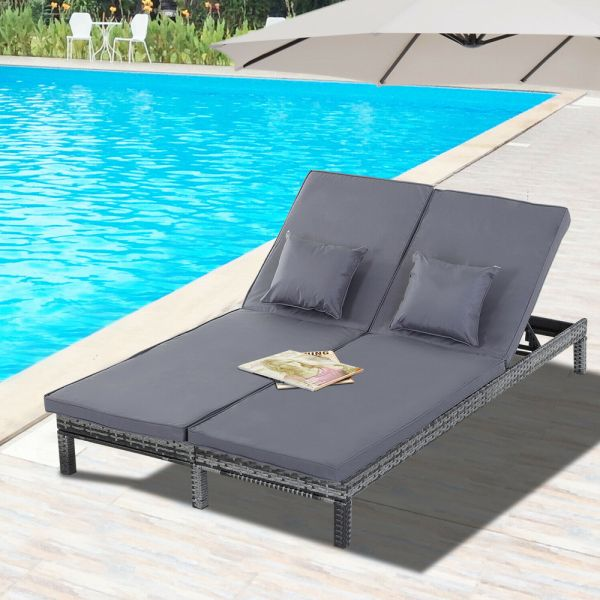 2 Person Rattan Adjustable Daybed With Cushion - Grey