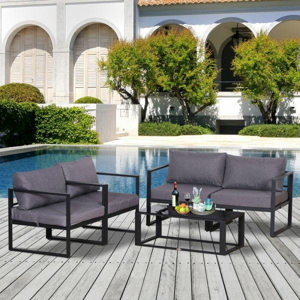 Aluminum Frame Garden Chair Table Set With Cushion 4pcs - Grey