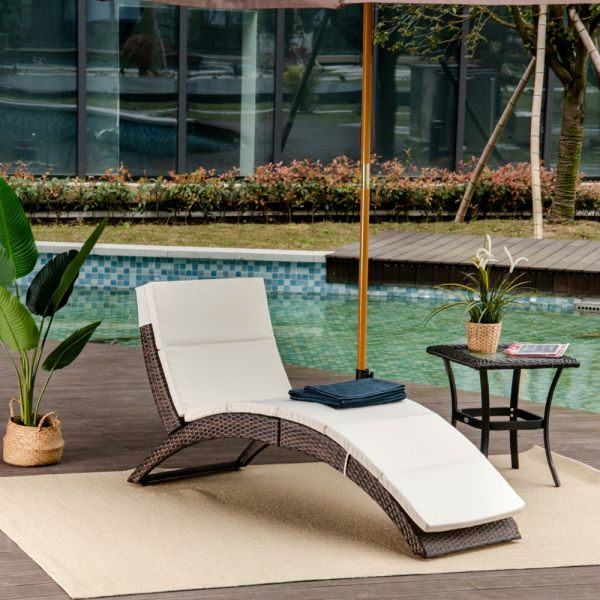 Recliner Rattan Chaise Sun Lounger - Brown