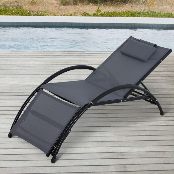 Adjustable Aluminium Frame Sun Lounger With Armrest - Grey