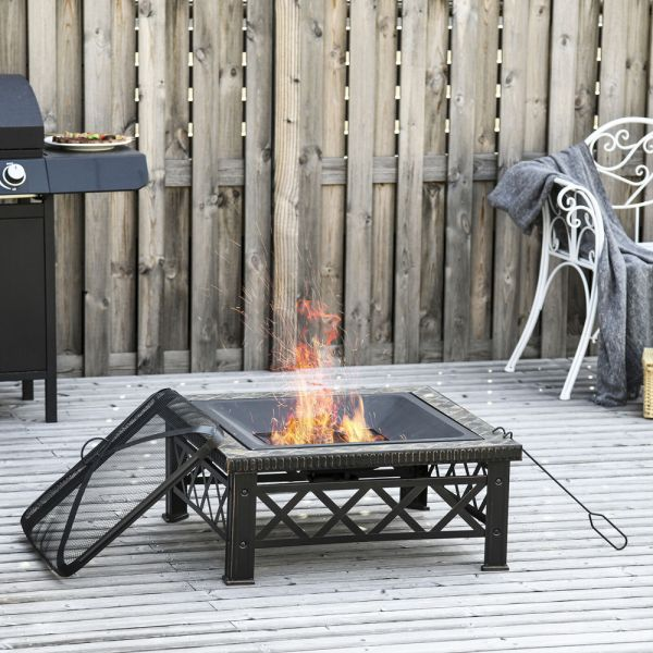 Elegant Square Log Grate Fire Pit With Poker Mesh Cover 76cm