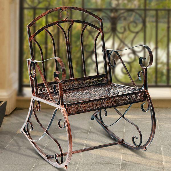 Antique Metal Vintage Style Garden Rocking Chair - Bronze