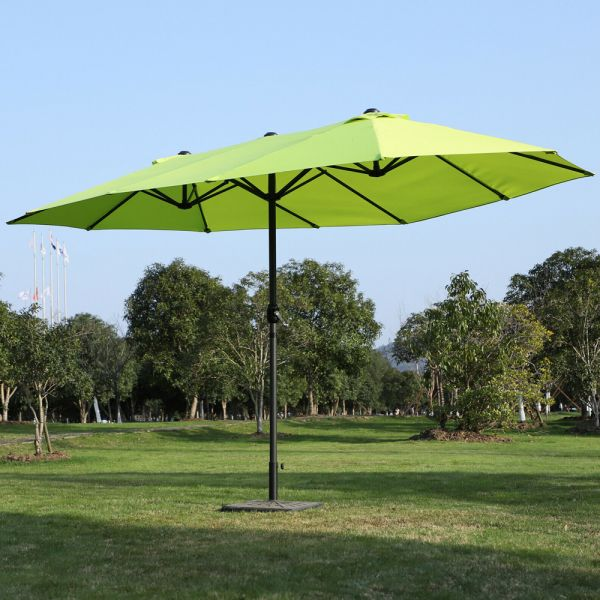 Elegant Double sided Crank Garden Parasol Green Colour - 4.6M