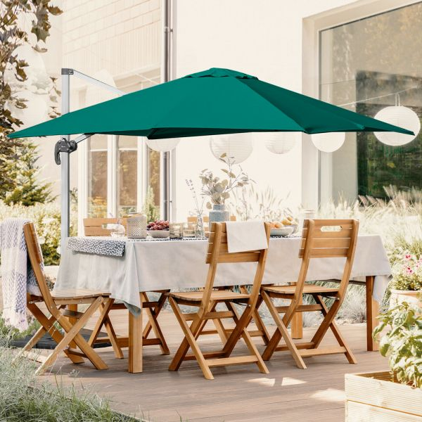 Square Cantilever Garden Parasol 360° Rotation With Cross Base Green Colour - 3M