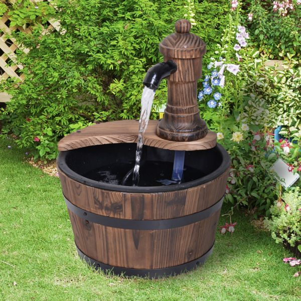Wooden Barrel Electric Water Fountain With Pump