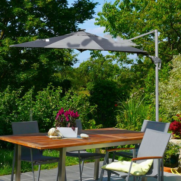 Adjustable Cantilever Parasol With Solar LED And Base - 3m