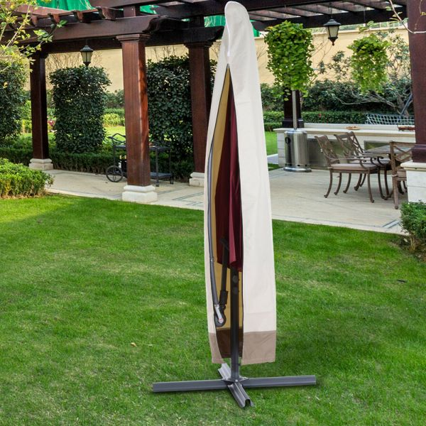 Wind Rain Parasol Protection Cover - Beige/Coffee
