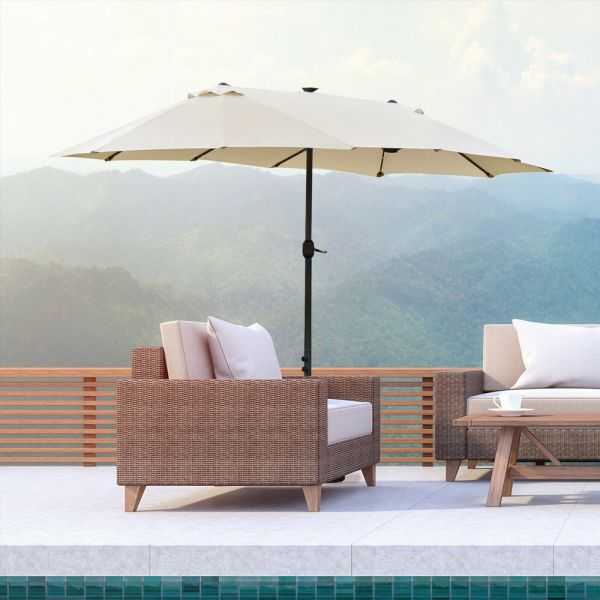 Double Sided Parasol With Solar LED Lights 4.4M - Cream/White