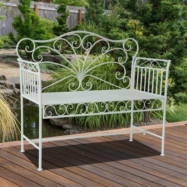 Vintage Style 2 Seater Garden Metal Bench - White