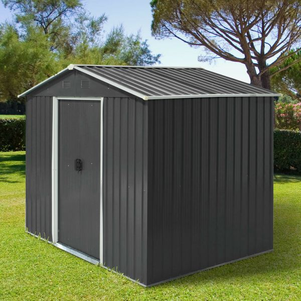 Metal Frame Garden Shed With Doors Grey Colour - 8x6FT