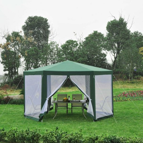Hexagonal Marquee Waterproof Gazebo - Green/White