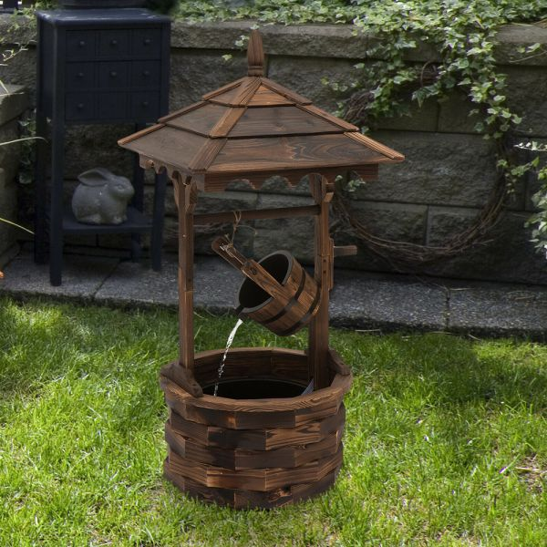 Rustic Wooden Barrel Well Garden Fountain With Pump