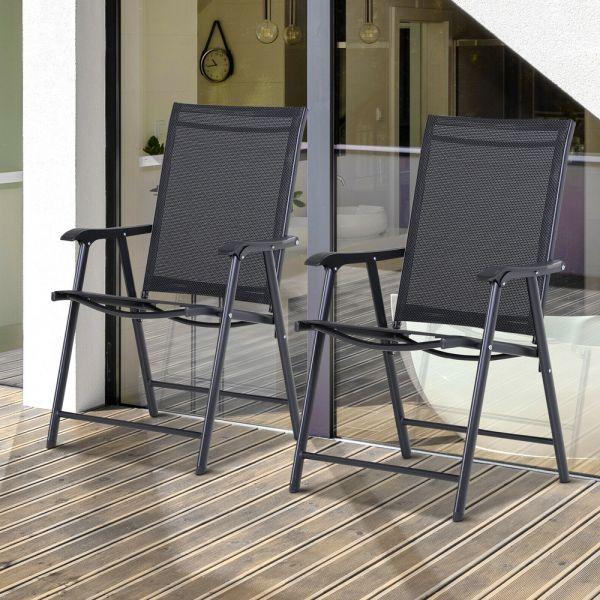 Foldable 2 PCS Metal Garden Chairs Set - Black