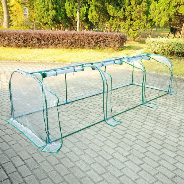 3 Sections Transparent Steel Frame Poly Tunnel