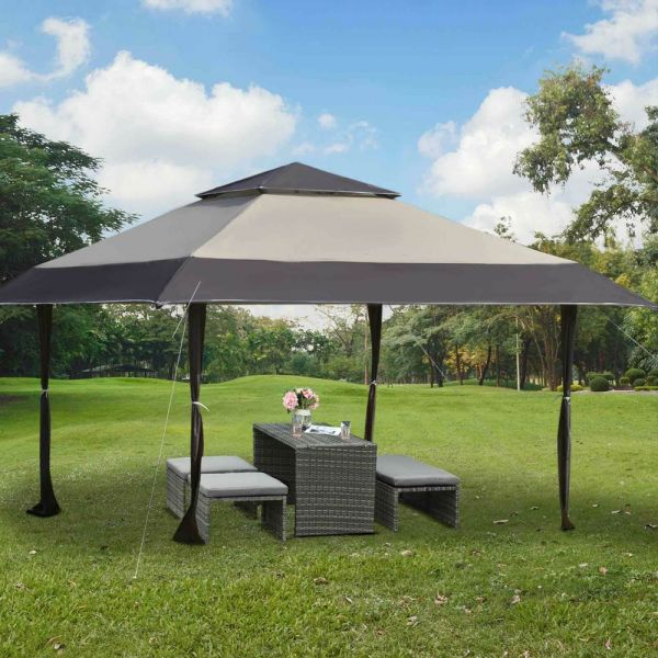 Adjustable Pop-Up Party Tent With Roller Bag - Khaki/Coffee