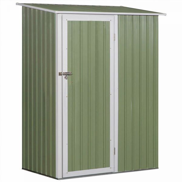 Sloped Roof Steel Frame Garden Shed - Light Green