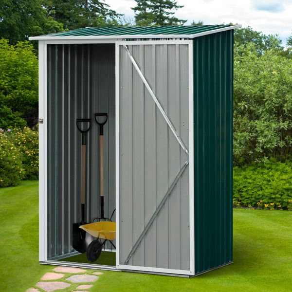 Steel Frame Garden Shed With Sloped Roof - Green