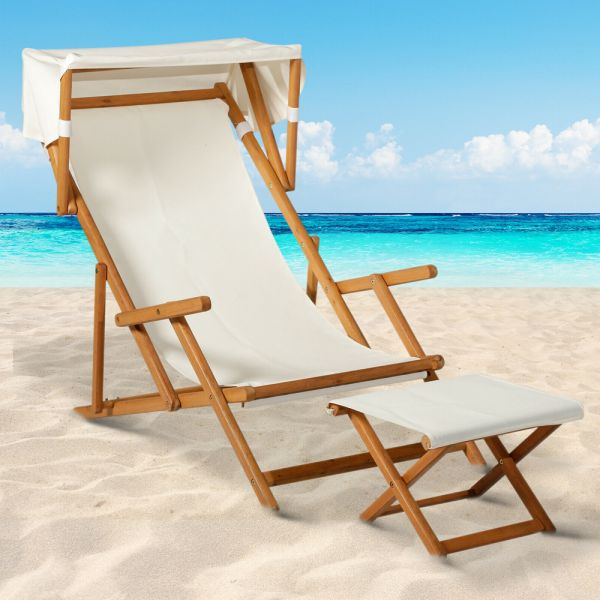 Wooden Garden Chair with foot stool and Canopy