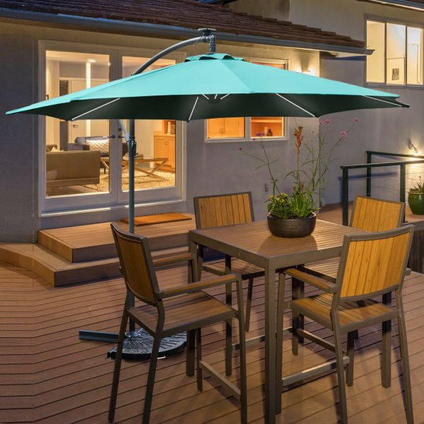 Banana Cantilever Parasol With LED Lights Green Colour - 3M